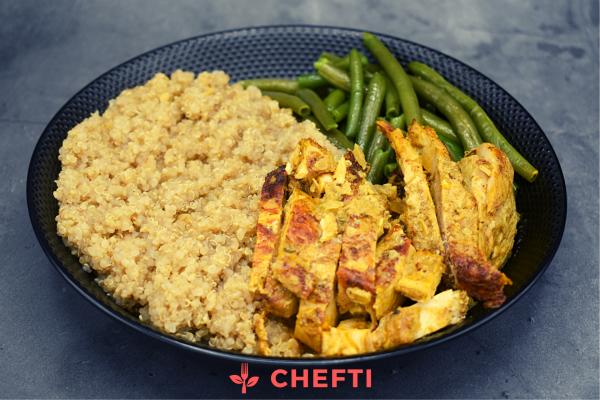 Poulet curry, quinoa brocolis, livré chez à domicile ou au bureau en Martinique