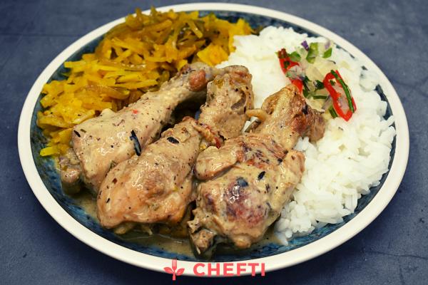 Poulet coco citronnelle, commander en ligne et faites vous livrer de bon repas en Martinique à domicile ou au bureai